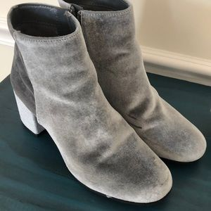 Grey velvet boots, only worn once!